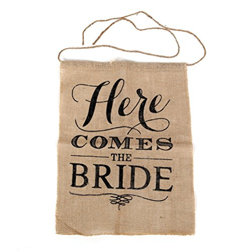 OULII Sackleinen Hochzeit Wegweiser Braut Zeichen Banner HIER KOMMT DIE BRAUT Hochzeit Flagge Dekoration Rustikale Zeremonie Zeichen 40 x 50 CM (Hier Braut Die Kommt)