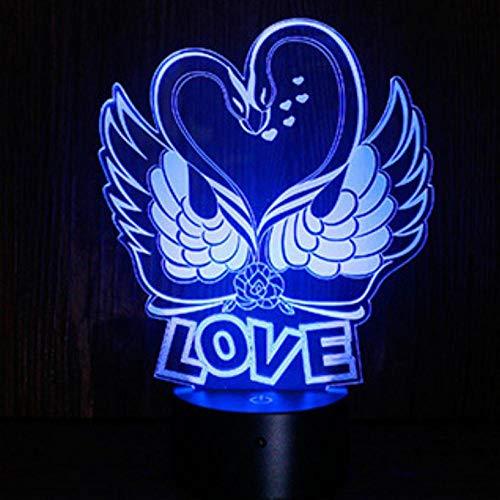Sproud Swan 3D LED Nachtlicht | USB Led Tischleuchte | Baby Schlafen Nachtlicht | Home Party Decor Illusionsleuchte | Reizendes Geständnis-Liebhabergeschenk