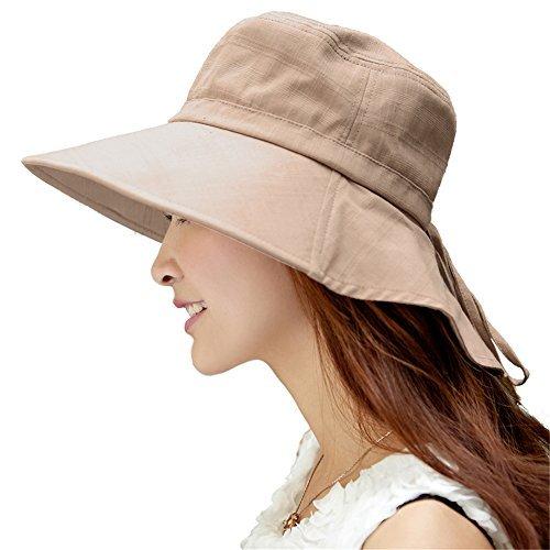 SIGGI Baumwolle Khaki Sommerhut UPF 50 + Sun Shade Hut mit Nackenschnur für Frauen breite Krempe