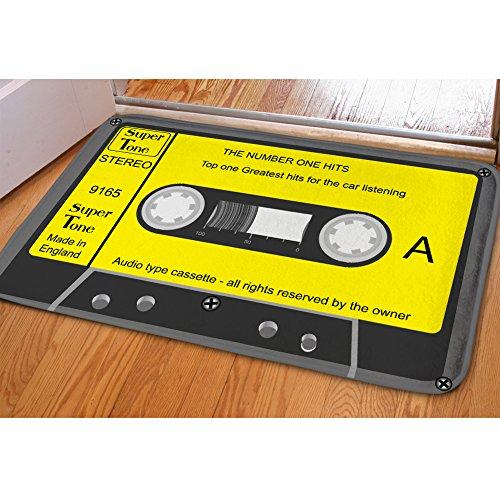 HUGSIDEA Vintage Cassette patrón Franela Interior al Aire Libre Felpudo Entrada Forma Alfombrilla de Suelo