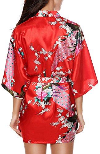 Luxurysmart Women's Peacock Floral Satin Kimono Robe Sleepwear Nightgown Dark Purple