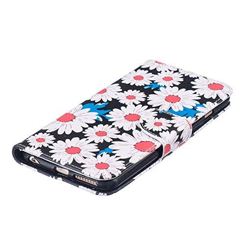 """MOONCASE iPhone 6s Plus Coque, [Rosa Fleur] Modèle Housse Pochette en Cuir Etui à rabat portefeuille [Porte-cartes] TPU Case avec Béquille pour Apple iPhone 6 Plus / 6S Plus 5.5"""" Chrysanthemum"""