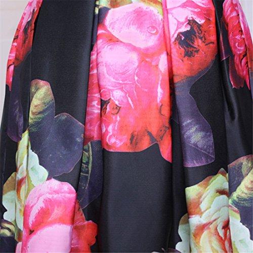 QIYUN.Z Rote Blume Gedruckt Elastische Hohe Taille Gefaltete Frauensommer Midi Bubble Röcke Photo Farbe