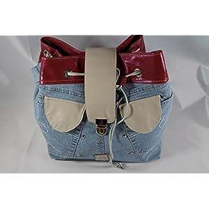Jeans Beutel kombiniert mit Leder