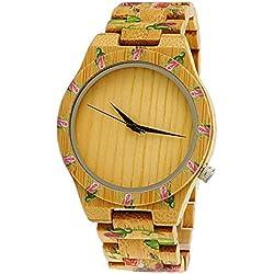 "Henny Klein designer Damen Öko Natur Holz Armbanduhr Uhr in mit Rosenmotiv ""limitierte edition"" inkl. Uhrenbox"