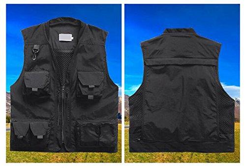Herren Weste Ärmellos Westen Zip Up Sport Outwear mit Reißverschluss Outdoor-Weste Baumwolle Jacke mit Vielen Praktischen Taschen Schwarz