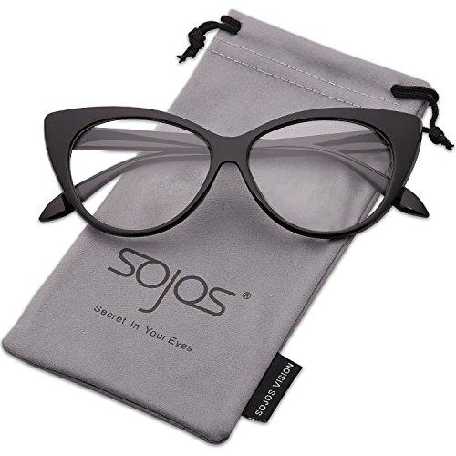 SOJOS Katzenaugen Sonnenbrille Retro Vintage Cateye Brille Damen SJ2040 mit Schwarz Rahmen/Klar Linse (Brille Klare Linse Schwarzen Rahmen)