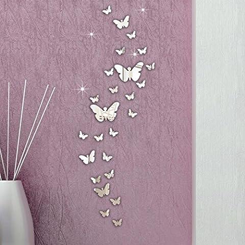 OVERMAL 30 PCs Schmetterlings-Kombination 3D Spiegel Wandaufkleber Home Decoration DIY