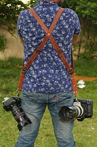 CLASSIC HANDICRAFT CH Handgefertigter Schultergurt für Zwei Kameras, Echtes Leder, Braun Benutzerdefinierte Doppel-Kame