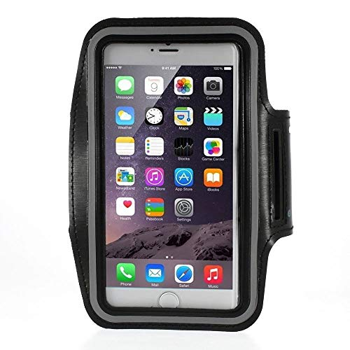bagmaxx Apple iPhone XS Max 8 Plus 7 Plus 6S Plus Galaxy S9+ s8+ Huawei P20 Pro Gym Jogging Sport Armband Tasche Hülle Klett Bag Training Pouch Cover Schwarz