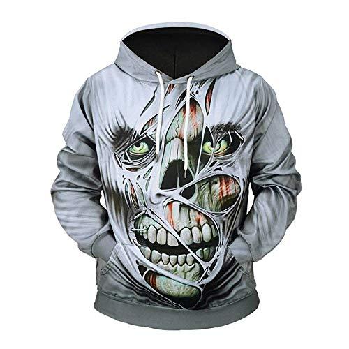 WEII Kreatives Halloween-Kostüm-Mode-Ghoul-Kopf-3D-Druckhoodie Sport-Beiläufige Große Größen-Mit Kapuze Lange Hülsen-Jacke,Bild,XXXL (Ghoul Halloween Kostüme)