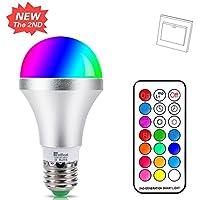 NetBoat Bombillas de Colores LED E27 10W,LED Bombilla Regulable 12 Color,con 21 llave Mando a Distancia,Función de Memoria Dual,para Decoración para el hogar Bar Partido KTV Etapa Efecto luces