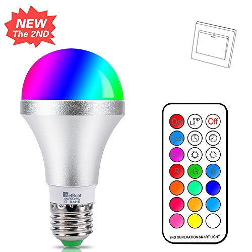 LED E27 Farbige Leuchtmittel 10W RGBW LED Bulb Dimmbare Farbwechsel Birne mit Fernbedienung, bunt 12 Farben, Dual Memory Funktion für Home Decoration Bar Party KTV Bühneneffekt Lichter (Light Switch Custom)
