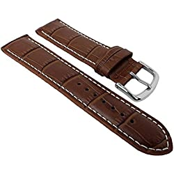 Herzog calf Leather watch strap Louisiana Sports | Replacement Strap 18 mm Colours with Contrasting Stitching, Color: Brown