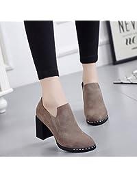 Botas Cortas Puntiagudas con Zapatos de Tacón Alto Y Zapatos de Mujer con Botas Descubiertas , pulir , EUR35