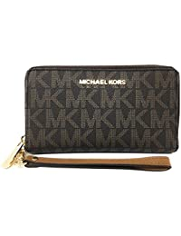 84ac70872410 Michael Kors Jet Set Travel Signature PVC Large Flat Multifunction Phone  Case Wristlet