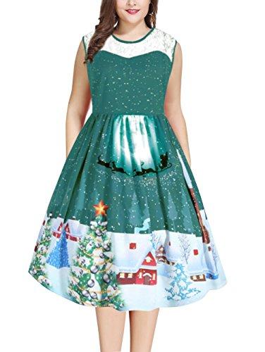 NEWISTAR Frauen Weihnachten Cocktailkleid Ärmellos Swing Kleider Große Größen Rockabilly Abendkleider Faltenrock Kleid Gr.52 (Kragen Muster Dots Runder)