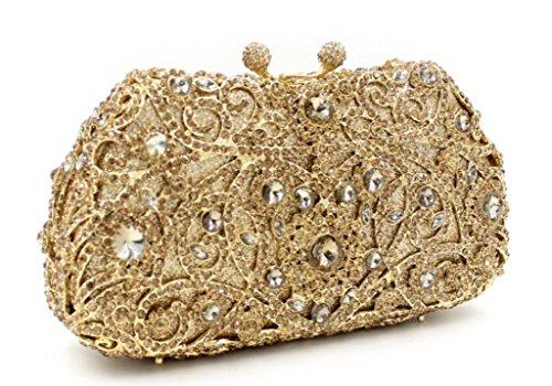XYXM Donna Frizione Sacchetto di sera di pacchetto del vestito dal sacchetto di cristallo handmade del metallo borsa del trivello Signora , red gold