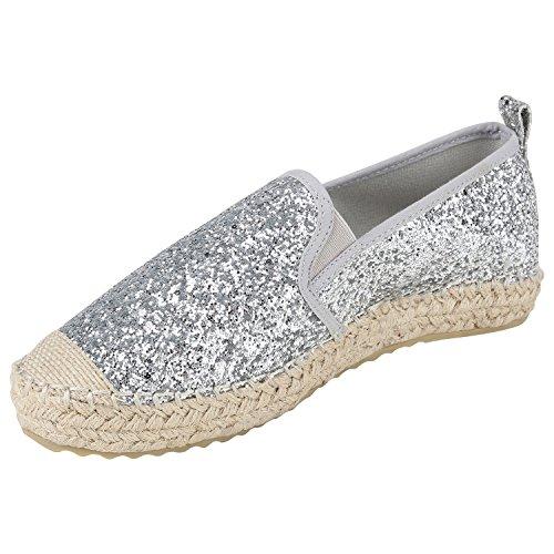 Damen Espadrilles | Bast Slipper | Glitzer Sommerschuhe | Metallic Flats Pailetten | Stoff Schuhe Plateau Silber Silber Glitzer