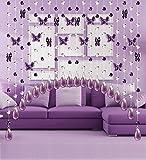 LIQICAI DIY Türvorhang Wulstige Vorhang Kristall Schmetterling Kronleuchter für Weihnachten Hochzeit Party Club Schaufenster (Farbe : Violet, Größe : Wide 120cm)