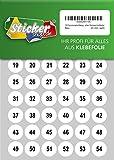 150 nummerierte Klebepunkte, 20 mm, weiß, aus PVC Folie, wetterfest, Markierungspunkte Kreise Punkte Zahlen Nummern Aufkleber