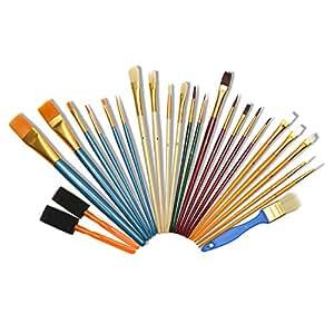 ARTINA® Set da 25 pennelli artistici - diversi modelli - inclusi 2 pennelli in spugna - per molte tecniche pittoriche
