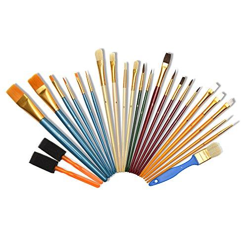 Artina 25er Künstler Pinselset Malen div. Borstenpinsel Haarpinsel Schwammpinsel Flach- & Rundpinsel für Acryl & mehr