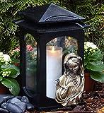 ♥ Grablaterne Grablampe Heilige Maria Schwarz 28,0 cm mit Grabkerze Grabschmuck Grableuchte Grablicht Laterne Kerze Lampe Marienbildnis Madonna