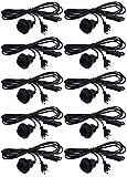 Netzkabel mit Schalter und Anschluss DIY Lampe Leuchte Lampenschirm Deko Geräte Schalten (Schwarz, 10 Stück E27 Fassung + 3,4m + Schalter)