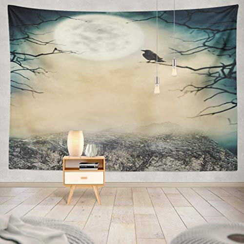gthytjhv Tapisserie Halloween Spooky Sky with Moon and Trees Halloween Art Autumn Black Blue Border Branch Celebration Creepy Dark Decorative Tapestry, Wall Hanging Tapestry for Bedroom Living Ro