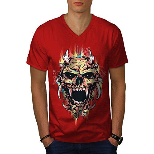 wellcoda Satan Teufel Unheimlich Schädel MännerV-Ausschnitt T-Shirt Dämon Grafikdesign-T-Stück