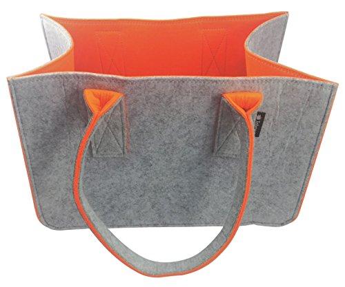 Shopping Bag aus Filz, große Einkaufs-Tasche mit Henkel, Einkaufskorb, faltbare Kaminholztasche, Aufbewahrung von Holz, vielseitige Tragetasche, Spielzeug-Aufbewahrung, Farbe grau (grau/orange)