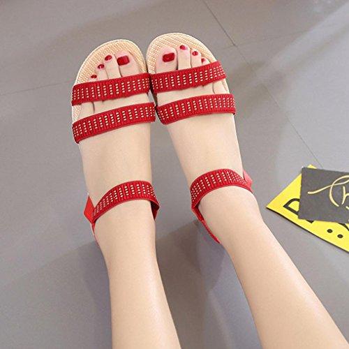 Transer® Damen Flach Sandalen Ankle-strap Microfiber Leder+Gummi Schwarz Rot Beige Blau Braun Sandalen (Bitte achten Sie auf die Größentabelle. Bitte eine Nummer größer bestellen) Rot