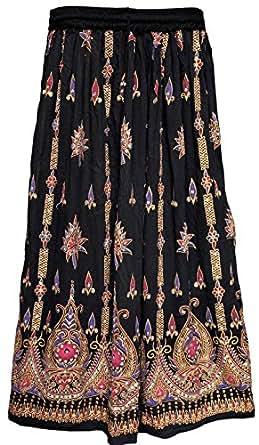 Lunga da donna Indian caviglia lunghezza India Clothing gonne paillettes