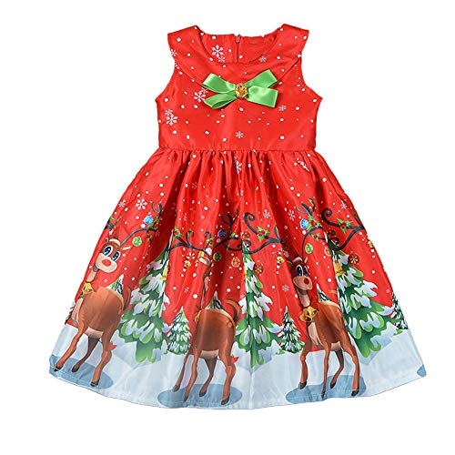 (VENMO Kleinkind Baby Mädchen Sleeveless Bogen Santa Deer Print Kinder Baby Mädchen Kleid Romper Kleidung Prinzessin Kleid Weihnachten Ballettkleid Party Hochzeit Tutu Kleid)