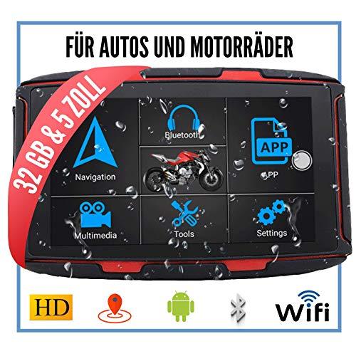 Elebest Navigationsgerät Rider A6 Pro, Navigation für Motorrad und Auto, 5 Zoll Bildschirm Android 6.0 - Bluetooth W-LAN Wasserdicht 32 GB Speicher