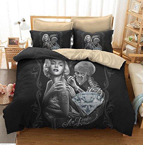 3D Marilyn Monroe und Totenkopf Betten-Sets, MONROE Dead Smile mit Terror Gesicht, Polyester Soft Luxus Bettbezug Set 3keine Tröster, Queen Size Betten 1* Bettbezug 200,7x 228,6cm und 2* Kissen Fällen (Queen-size-bett Kissen)