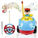 HENMI RC Cartoon Autos, Rennauto Spielzeug Cartoon Radio kontrollierte Autos mit Musik Kontrolle Kinder RC Spielzeugauto für Kinder Baby(Blau)