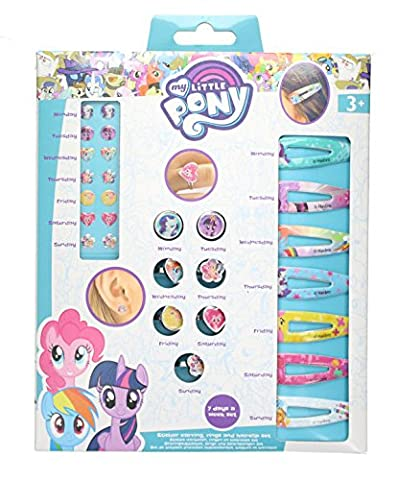 Children's My Little Pony 7 Days Sticker Earring, Rings & Hair Clip Set