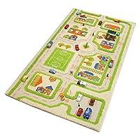 Little Helper 3D Childrens Play Rug in Town Traffic Design, Green (80 x 150cm)