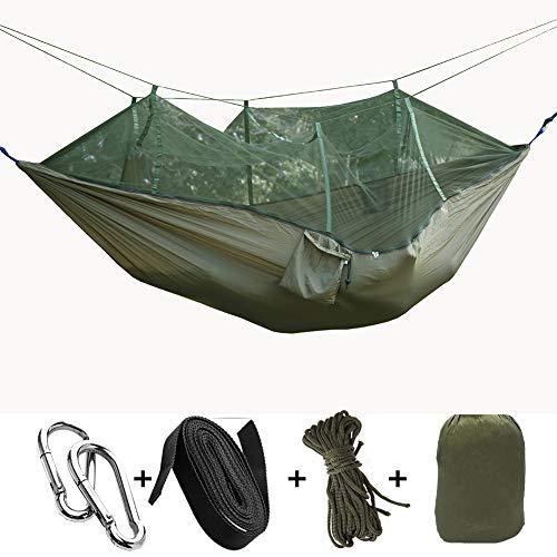 LSWGG Outdoor Hängematten mit Moskitonetz Tragbare Camping Hängematte Fallschirm Hängematte mit Baumgurte und Solide Karabiner Perfekte Reise Hängematte für Camping Wandern Dschungel Strand,9