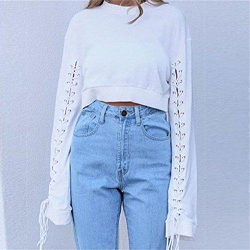 LHWY Damen Casual feste Runde Hals Tops langen Ärmel Bandage Bluse Weiß