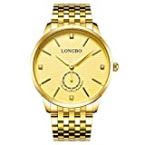 LONGBO Luxus Herren Gold Edelstahl Band Analog Quartz Business Watch Vintage Paar Kleid Watch Strassschwarz Zifferblatt Armbanduhr f¨¹r Gentleman