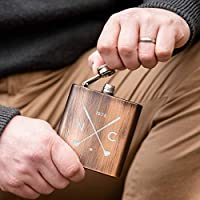 Golf Hip Flasks for Men - Personalised Golf Gifts for Him Dad Grandad - Copper, Bronze or Leather - Pocket Stainless Steel 7oz Canteen