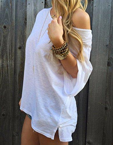 365-Shopping Langarmshirt Damen Vintage Langarm A-Linie Spitze Tunika Lose T-Shirt Kleider Weiß