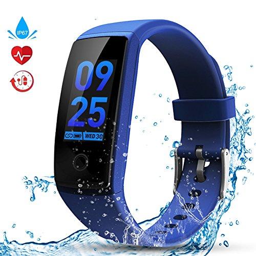 Fitness Tracker, Kitbeez Smart Armbänder IP67 Wasserdicht Sport Fitnessuhr Pulsmesser Aktivitätstracker Schrittzähler mit Herzfrequenz, Schlafmonitor, Blutdruckmonitor Herren Damen für IOS und Android Handy Blau