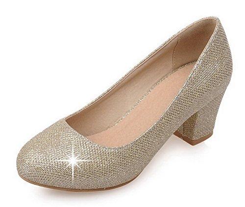 Agoolar De Bombas Senhoras Calcanhar Para Ouro Em Puxar Torno Toe Meados Sapatos Lantejoulas Puramente TdwaRq
