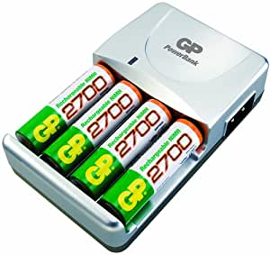 GP PowerBank TRAVEL Chargeur 2/5 heures 4 piles rechargeables AA / 2700 mAh NiMH Cordon allume-cigares
