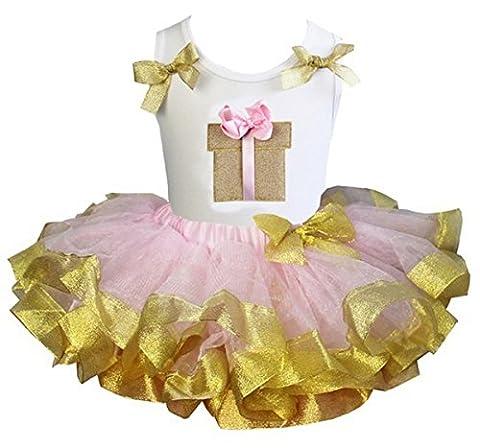 Kirei Sui Pink Gold Satin Trimmed Tutu Gift Box Tank Top Medium White