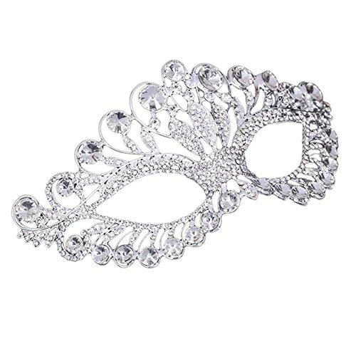 QincLing Damen Strass Kristall Masquerade Augenmaske Venezianische halbmasken Party Krone (Silber Abschlussball Masken Maskerade Für)